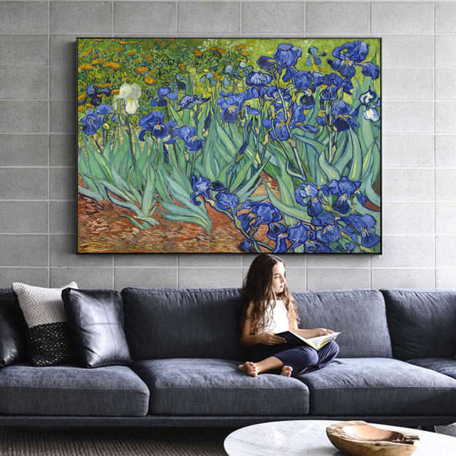 Van Gogh Irises Flowers Paintings Reproductions On The Wall Impressionist Irises Canvas Art Decorative Pictures For Living Room