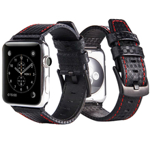 Купить с кэшбэком Laforuta Leather Band for Apple Watch 42mm 38mm Carbon Fiber iWatch Strap 44mm 40mm Women Men Watchband for Series 4/3/2/1