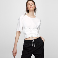 Wit korte mouw lace up taille cropped tops voor vrouwen stijlvolle slim fit middenrif t-shirts dames meisjes preppy casual korte tees
