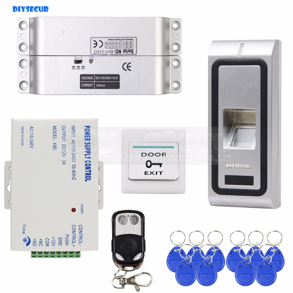 DIYSECUR Electric Mortise Lock Fingerprint 125KHz RFID ID Card Reader Door Access Control System Kit Metal biometric fingerprint access controller tcp ip fingerprint door access control reader