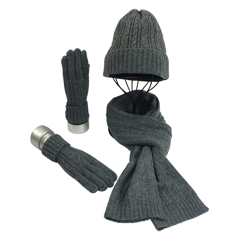 3/Piece Set 30% Wool Hat Scarf Gloves Winter Thick Knit Wool Gloves Hat And Scarf For Women Cold Weather Warm Gift Set