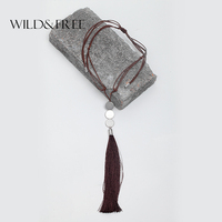 2016 Vintage Women Handmade Brown Braided Leather Long Tassel Necklaces Silver Plated Coin Pendant Collar Adjustable
