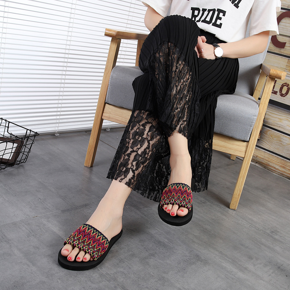 18a0ea6b5da Women Summer Flip Flops Slipper Shoes National Style Sandals Indoor ...