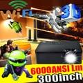 Высокая яркость 6000 ANSI Люмен HDMI USB Quad core Android 4.4 wi-fi Умный Full HD 1080 P DLP 3D 300 дюймовый Экран Проектора проектор