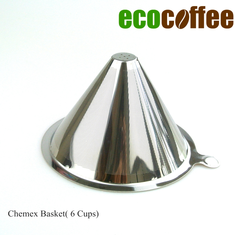 1PC Free Shipping Chemex 6 Cups Stainless Steel Coffee Baskets 304 Stainless Steel Coffee Filter