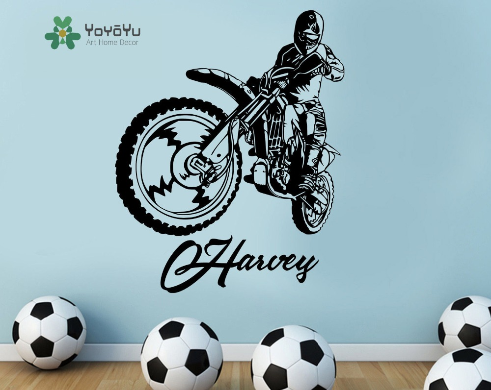 Perfect Motocross Motorbike Kids Personalised Any Name Wall Art Mural Decal Sticker  Customized Name Wall Mural Art