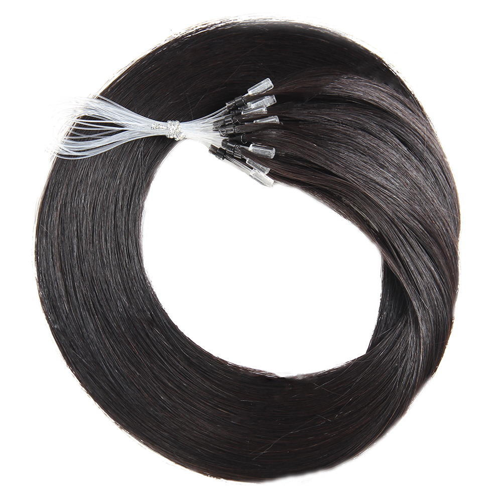 KEMY HAIR FASHION Straight Micro Loop Ring Hair Extension Brazilian Micro Bead Link Human Remy Hair Extension Natural Black Hair