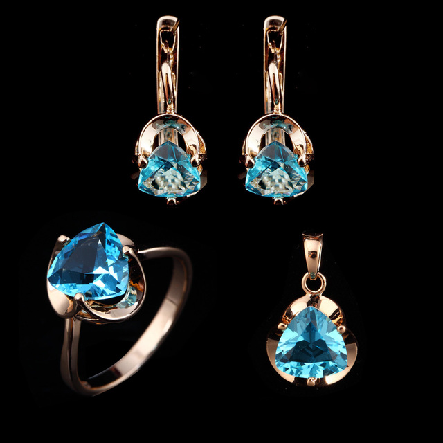1Set 2017 New Fashion Bridal Jewelry Sets Trendy Heart Blue Cubic Zircon Earring Ring and Necklace Jewelry Sets for Women