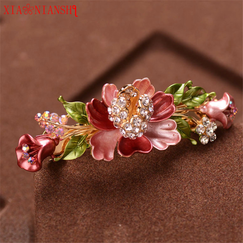 High Quality Gold Color Rhinestone Barrettes Hair Jewelry Enamel Multicolor Camellia Flowers Hair Clip Bride Hair Accessories