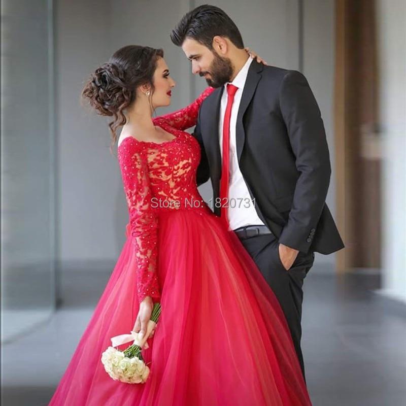 Robe de bal rouge grande taille robes de bal manches 2019 col carré dentelle robes de soirée élégantes formelle femmes robe de soirée pour mariage