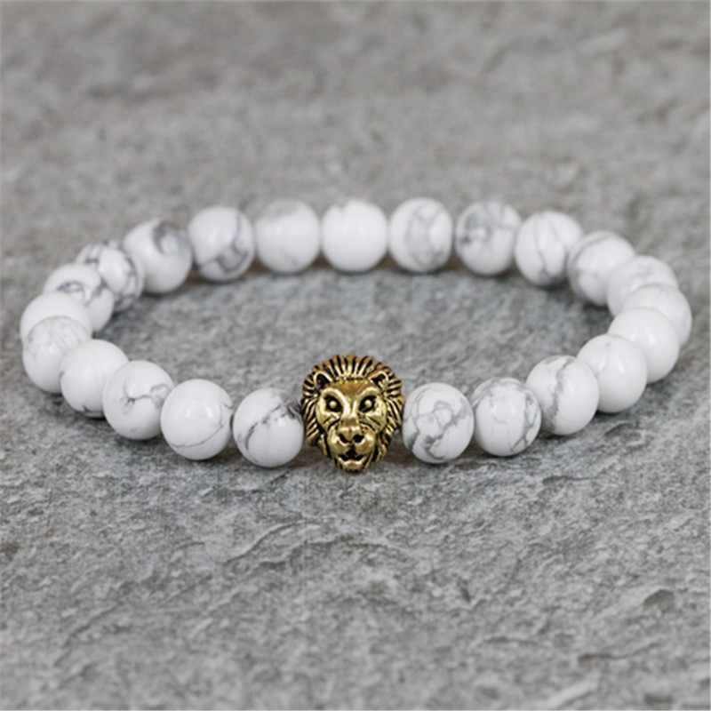 KEJIALAI Groot Verkoop Leeuw Bracele 8mm Natuurlijke Witte Howliet Kralen Antieke Leeuwenkop Kralen Armband Mannen Sieraden BS-005