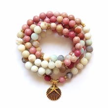 108 Mala Rhodonite Balances Rhodonite Bracelet New Design Women`s Yoga Bracelet Healing Spiritual Gift Amazonite Bracelets