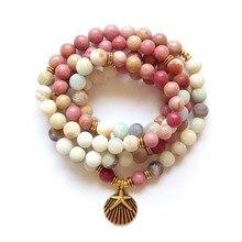 Pulsera de Yoga para mujer, brazalete de rodonita, curación, regalo espiritual, amazonita, 108