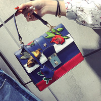 Autumn National Vintage Embroidery Shoulder Bag Women Floral/Bee Embroidered Handbags Ladies Small Lock Crossbody Bag Sac