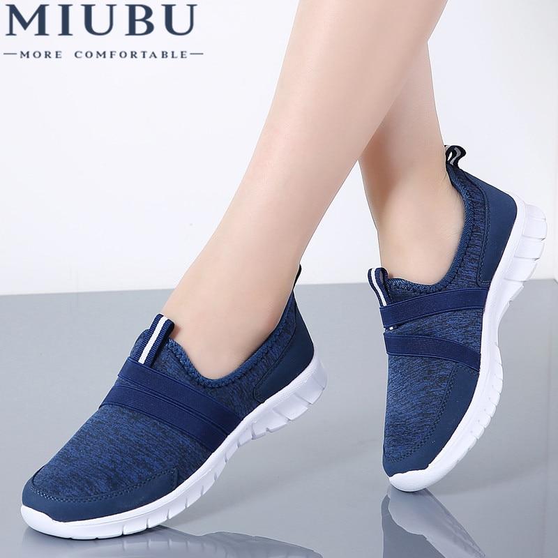 цена на MIUBU 2018 Autumn Sneakers Women Breathable Mesh Shoes Woman Ballet Slip On Flats Loafers Ladies Shoes Creepers tenis feminino