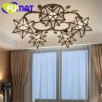 FUMAT Ceiling Lights Tiffany Star Glass Art Decor 3 5 8 Heads Loft Gilding Iron Art Lampshade LED Ceiling lamp Living Bed room