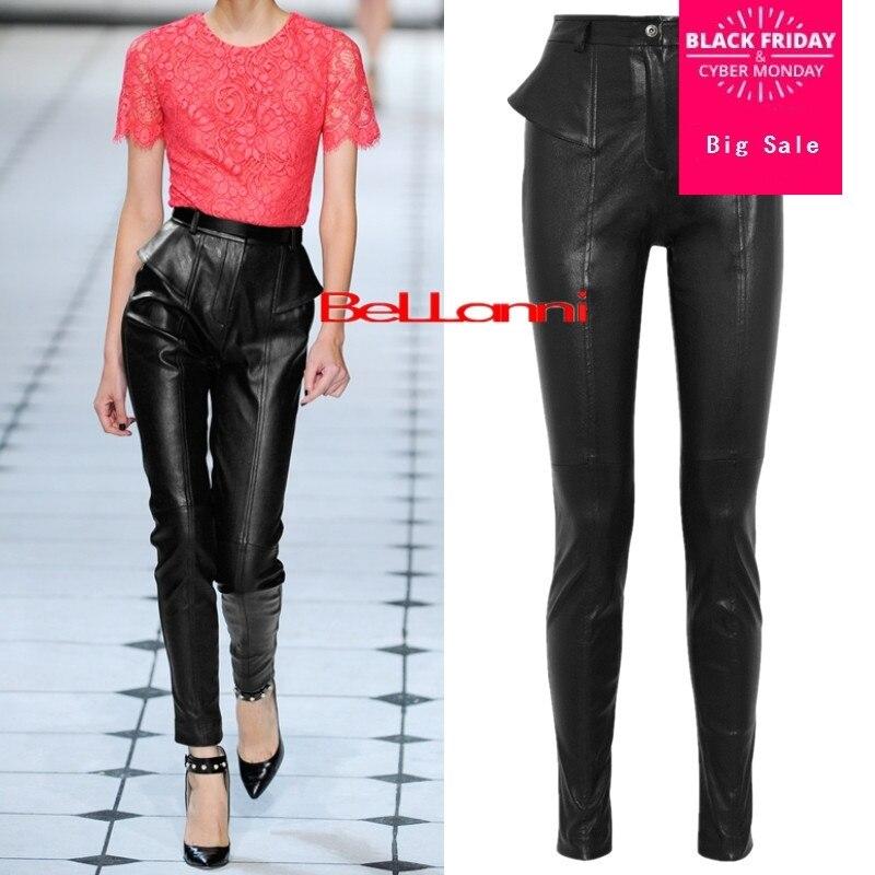 Pantalones Brillante Pu Era La Cuero Invierno Primavera Black Alta Length Lápiz Normal Cintura Mujer 2017 Delgada longer De Length Marca Moda Wj1652 XFwwvY6