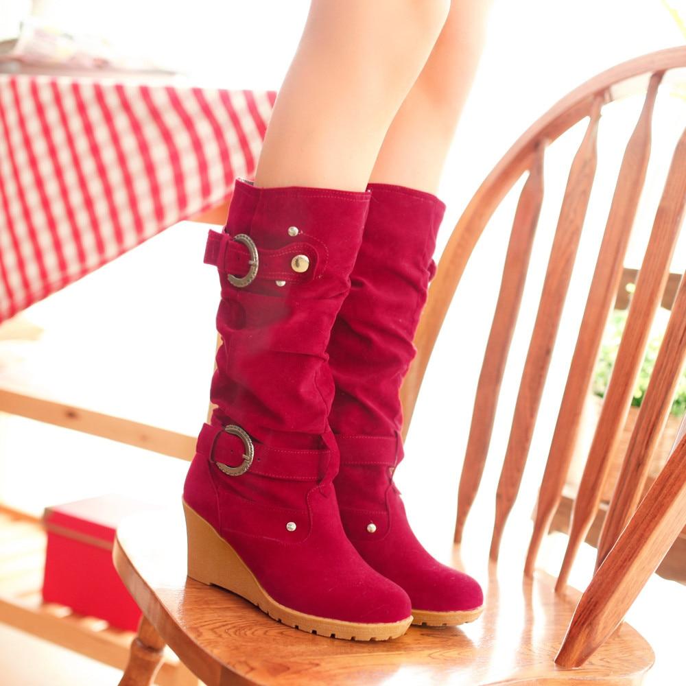 a91a5fd8d Youyedian 2018 Deslizar De Sapatos Botas Vermelhas Sobre Salto Preto  Engrossar Alto Senhoras azul Cunhas Casuais vermelho Mujer Mulheres Outono  Bwq41qR