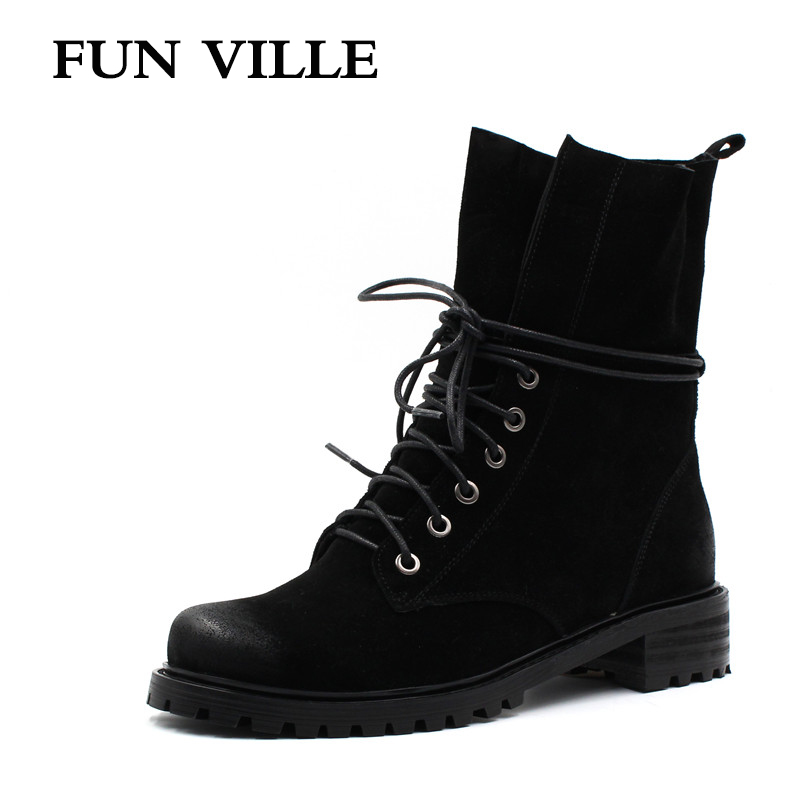 FUN VILLE 2017 New Fashion winter Women Ankle snow Boots Cow suede Hign quality Flat Martin boots black Round Toe size 34-42 fashion winter women martin boots round