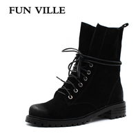 FUN VILLE New 2017 Autumn WinterFashion Leather Boots Women Flats Ankle Boots Casual Round Toe Martin