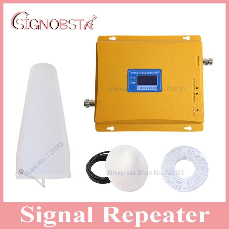 Gain élevé écran lcd téléphone portable dual band 900 1800 signal booster répéteur mobile téléphone gsm900 4g dcs1800 mhz cellulaire amplificateur