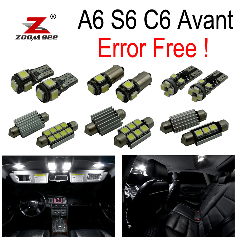 20pc X canbus 100% No Error for Audi A6 S6 RS6 C6 Avant Wagon LED Interior Dome Map Light Kit Package (2005-2011) 2pcs 12v 31mm 36mm 39mm 41mm canbus led auto festoon light error free interior doom lamp car styling for volvo bmw audi benz
