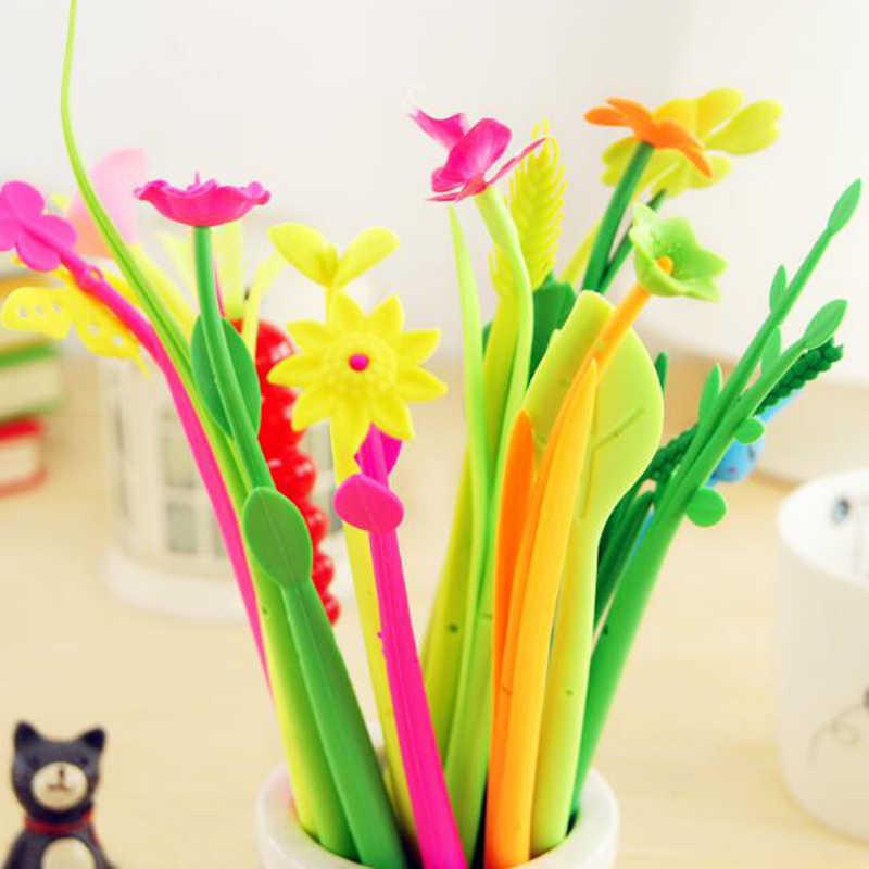 20pcs/lot Mixed Styles Flower Plant Shaped Ball Point Pen Creative Stationery Ballpoint Pen Lovely Style Gel pen writing pen
