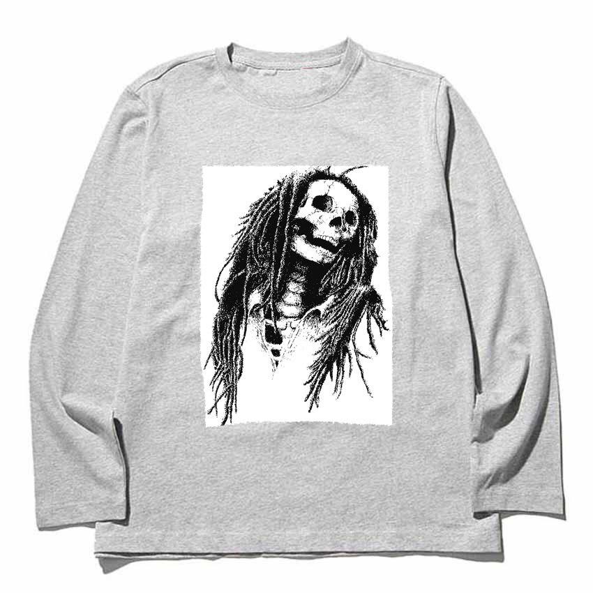 Черный и белый цвета эскиз рок-н-ролл звезды череп мужчины женщины размер футболки тяжелых чесаный полный одежда с длинным рукавом Футболка