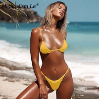 Minimalism Le 2018 Spandex Solid Sexy Swimwear Drape Bikini Sets Triangle Swimsuit Bikinis Halter Top Bathing