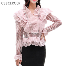Fashion Lace Hollow Out Blouse Shirt Women Ruffles Long Sleeve Black White Pink Female Sexy Deep V Neck Summer Tops