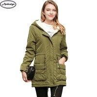 2017 New Winter Cotton Lambswool Women Fashion Parkas Coat Casual Long Hooded Jacket Parka Coats