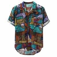 Mujeres 2019 nuevas llegadas camisa de marca de impresión Casual hombres de manga corta botón Tops suelta moda hombres playa hawaiana camisa M-4XL