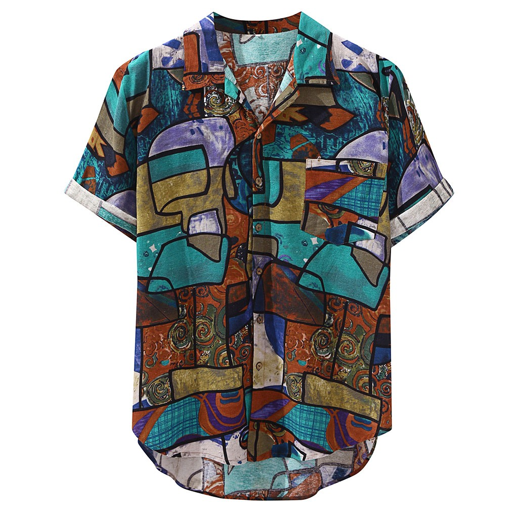 Womail 2019 New Arrivals Casual Print Brand Shirt Men Short Sleeve Button Tops Loose Fashion Men Beach Hawaiian Shirt M-4XL