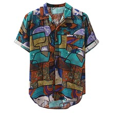 Womail 2019 New Arrivals Casual Print Brand Shirt Men Short Sleeve Button Tops L