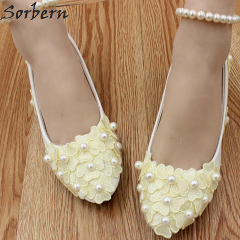 Sorbern Light Yellow Cute Flower Wedding Shoes Beading