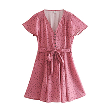 купить Button Women Dress V-neck Lace up Vintage Floral Short Sleeve Satin Short Summer Dresses Casual Style Fashion Sexy mini Dress онлайн