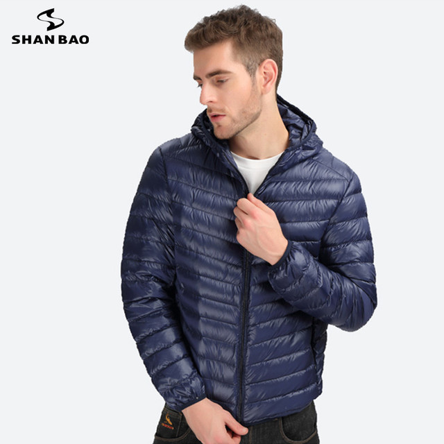 SHAN BAO casual brand clothing 2017 new thin down jacket men's high-quality white duck down fashion hooded down jacket 6 colors