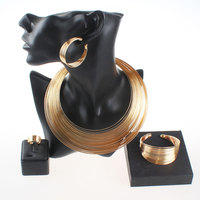 Fashion Dubai Gold Plated Nigerian Wedding African Beads Opened Cuff Necklace Bangle Earrings Ring Party Statement