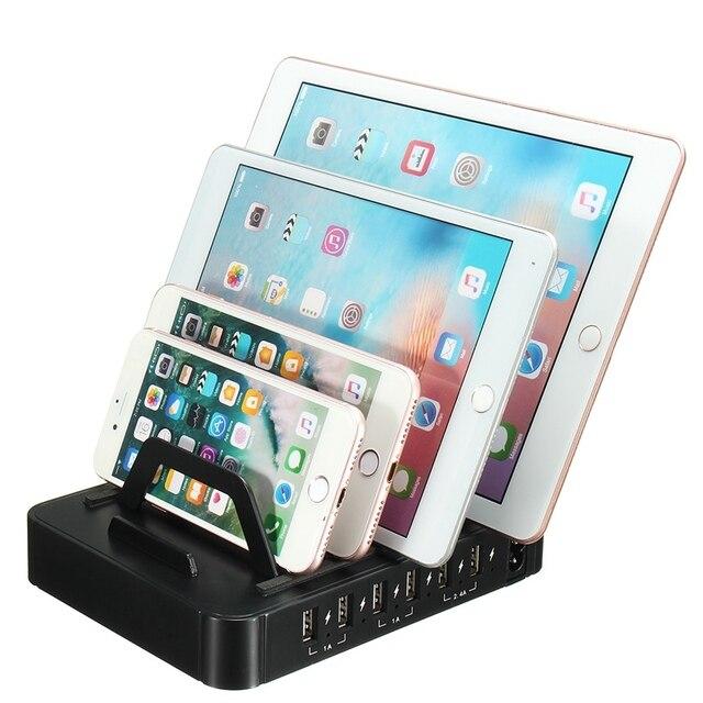 Universal 60 Watt Usb Ladestation Handy Tablet Ladegerät Organizer 6 Ports Neue Design Halter
