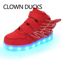 CLOWN DUCKS Brand USB Charging Basket Led Children Shoes With Light Up Kids Casual Boys Girls