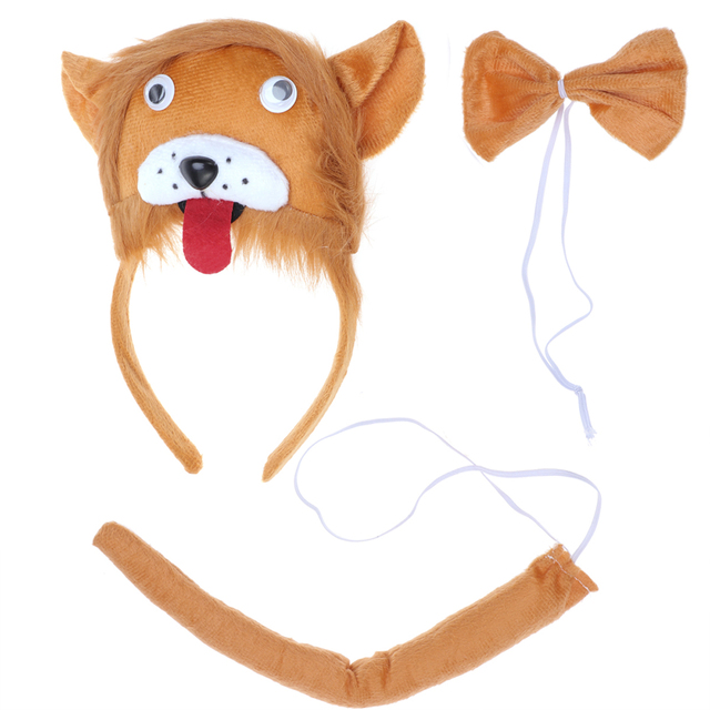 3 Pcs Kids Cute Animal Ears Headband Party Tie and Tail Cosplay Costume  Party Favors(Lion) ec150aa6dc23