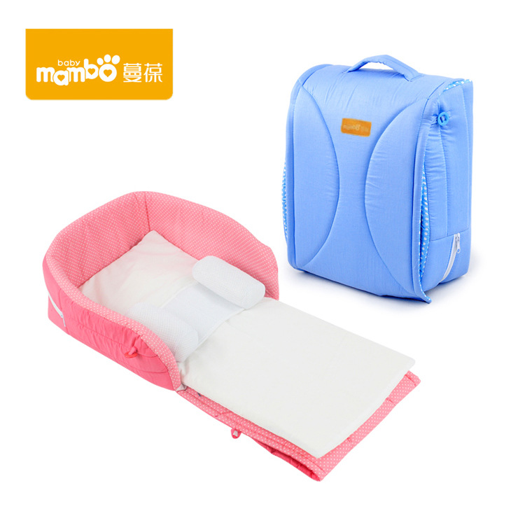 Portable Crib Bed Bed Newborn Baby Sleeping Anti-pressure Bed Foldable Mobile Travel
