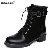 AicciAizzi Size 30 47 Women Lace Up Round Toe Martin Boots Buckle Style Bootines Mujer Shoes Woman Combat Military Ankle Boots