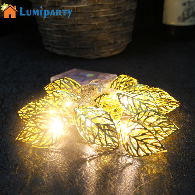 US $8 91 24% OFF LumiParty 2 2m Metal Leaf Fairy String Light Customized  length Silver/Gold Tree Leaves LED String Lamp for Christmas Decor-in LED