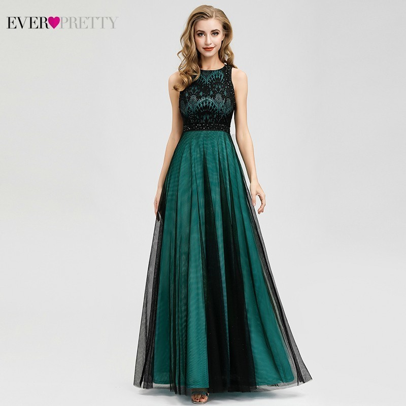 Dark Green Lace Bridesmaid Dresses Ever Pretty A-Line O-Neck Beaded Sleeveless Elegant Wedding Guest Dresses Sukienka Wesele