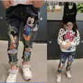 2016 Spring Baby Girls Cartoon Mouse Jeans 2-7Yrs Children Pants Trousers Fashion Children Clothing Jeans Girls Kids Jeans