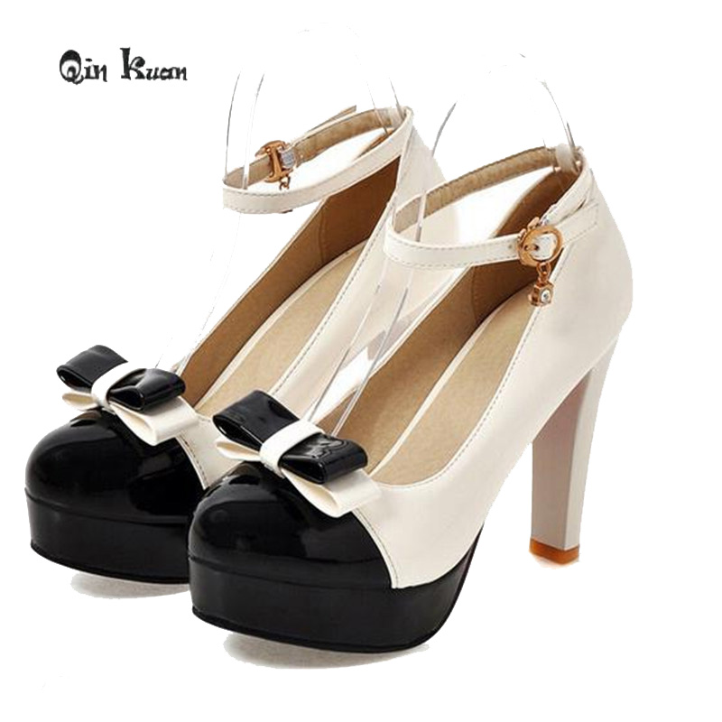 Qin Kuan Women Sweet Round Toe Bow Ties High Heel Shoes Ladies Mixed Color  Ankle Buckle Party Pumps Plus Size 32 43 QKP0040B-in Women s Pumps from  Shoes on ... 682e0d70a58f