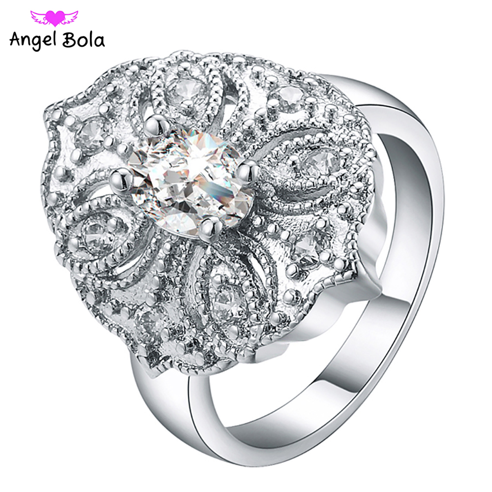 925 Silver Rings Flower Design with AAA CZ Luxury Rings Fit Trendy Woman Stackable Ring Lover Gifts R-007 Free Shipping