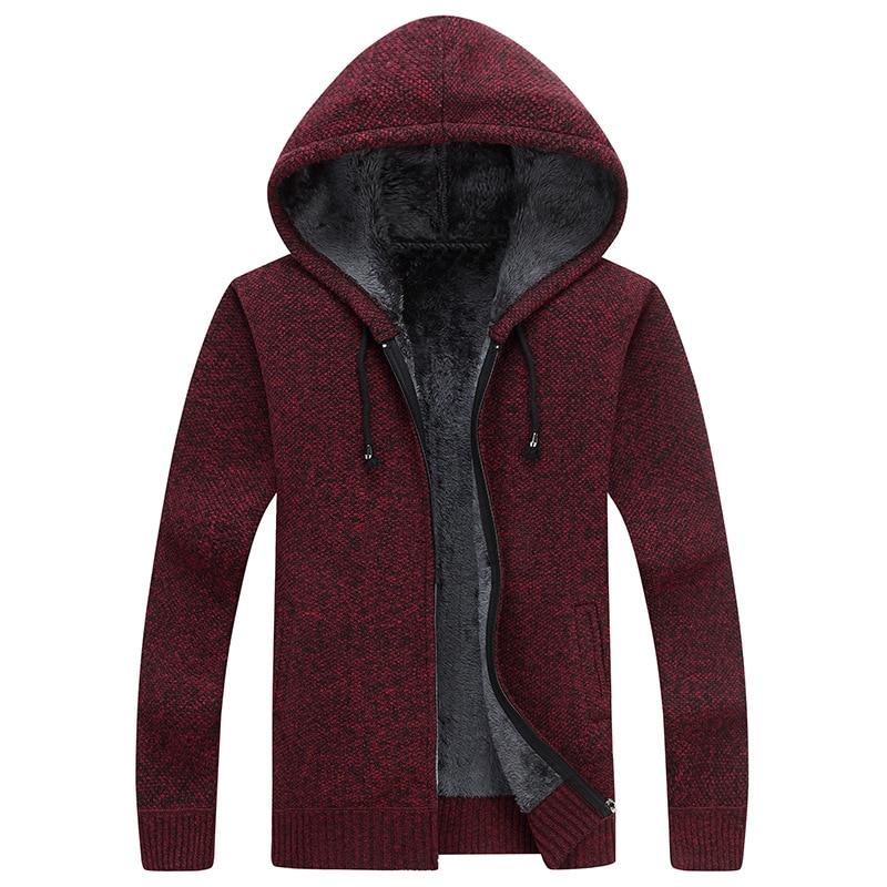 2018 Winter New Mens Fleece Sweatercoat Fashion Hooded Slim Fat Thicken Casual Sweater Men Cardigan Masculino M-3XL AF1761