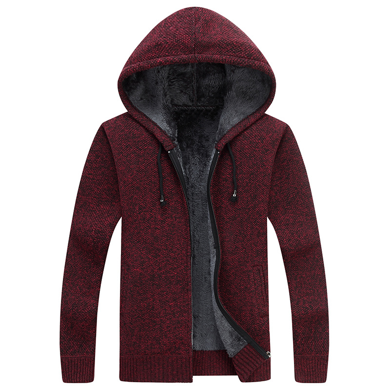 Winter New Mens Fleece Sweatercoat Fashion Hooded Slim Fat Thicken Casual Sweater Men Cardigan Masculino M-3XL AY1761